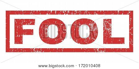Fool text rubber seal stamp watermark. Caption inside rectangular banner with grunge design and dust texture. Horizontal vector red ink sign on a white background.