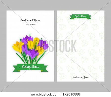 Restaurant spring double sided menu card design business templates. Colored paper flowers yellow and purple crocuses with leaves and green ribbon with white inscription. Vector illustration
