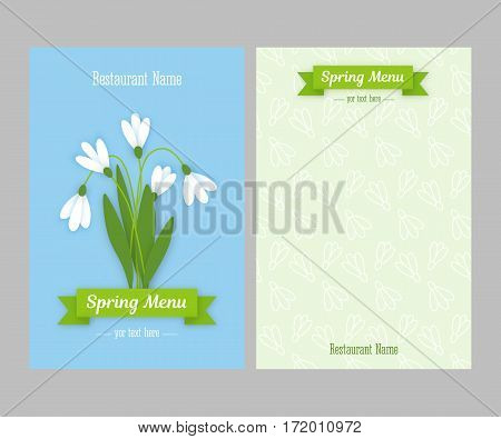 Restaurant spring double sided menu card design business templates. Colored paper flowers white snowdrops with leaves against sky and green ribbon with white inscription. Vector illustration