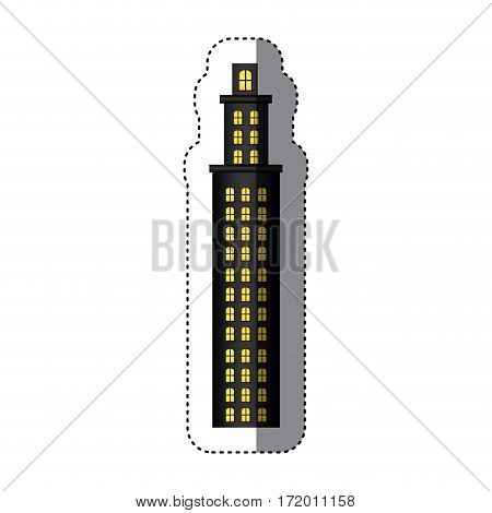 sticker tower residence with several floors vector illustration