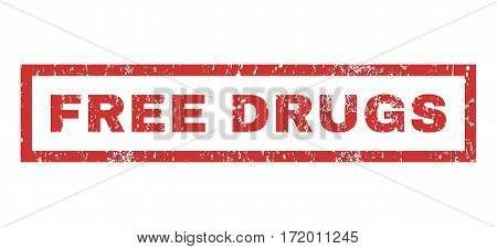 Free Drugs text rubber seal stamp watermark. Caption inside rectangular shape with grunge design and scratched texture. Horizontal vector red ink emblem on a white background.