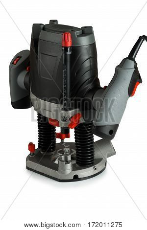 electric router for wood on white background