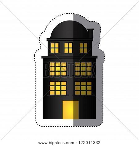 sticker edifice residence with three floors and terrace vector illustration
