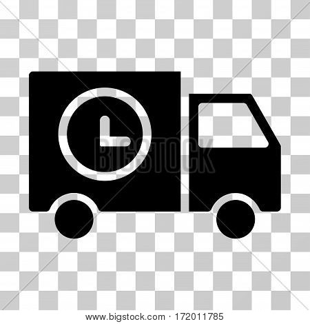 Shipment Schedule Van vector pictogram. Illustration style is a flat iconic black symbol on a transparent background.