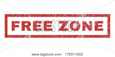 Free Zone text rubber seal stamp watermark. Tag inside rectangular banner with grunge design and scratched texture. Horizontal vector red ink emblem on a white background.