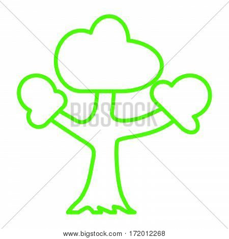 simple thin line triple limb tree icon vector