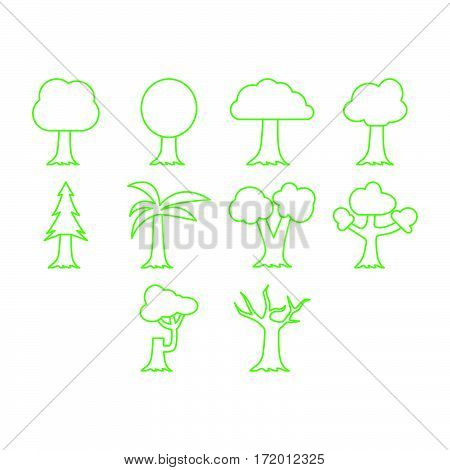 Collection of thin line trees icon vector