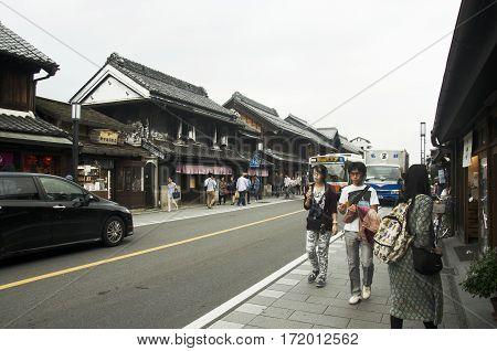 Apanese People And Foreigner Traveler Walking And Travel At Kawagoe Or Kawagoe Little Edo
