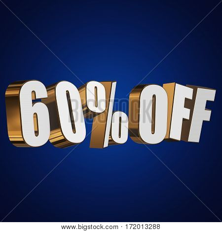 60 percent off letters on blue background. 3d render isolated.