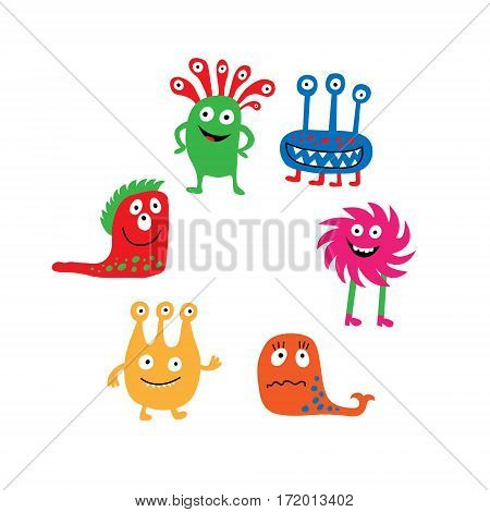 A Collection Of Colorful Isolated Cute Monsters