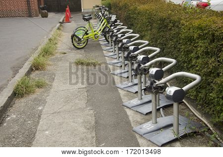Vending Machine Meter Of Bicycle Parking For People Use At Kawagoe Town