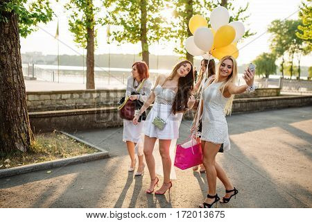 Group Of Girls Making Selfie At Hen Party.