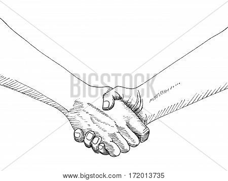 Sketch of hand shaking isolated on white