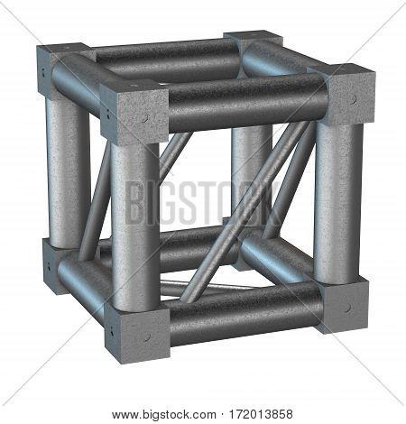 Steel truss girder cube element. 3d render isolated on white