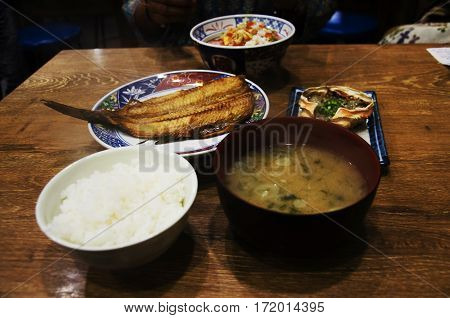 Japanese Food Set Rice And Donburi Or Don Roe And Tsubodai Or Hokke Fish Fried With Salt And Kani Mi