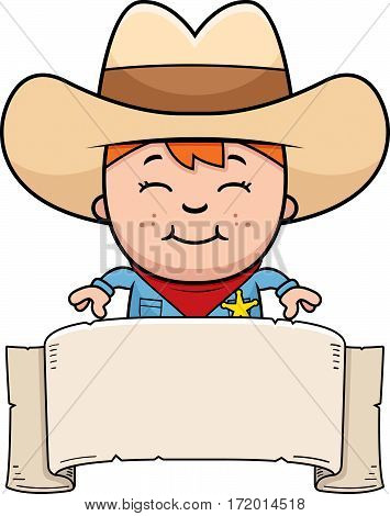 A cartoon illustration of a little cowboy with a banner.