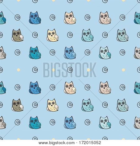 Owl vector seamless pattern. Vector owl. Animals and bird owl. Forest nature