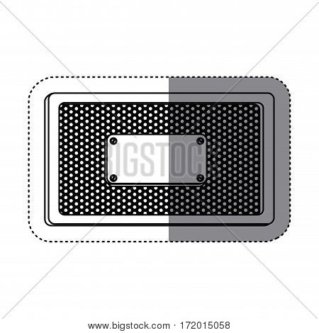 sticker silhouette rectangle frame metallic with grill perforated and plaque vector illustration