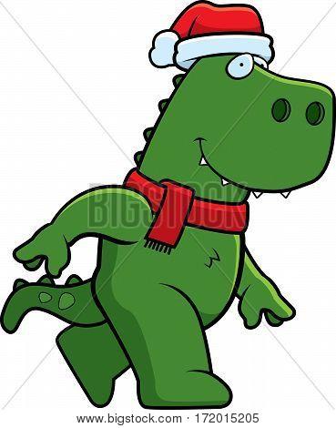 Cartoon Christmas Dinosaur