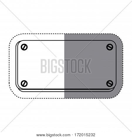 sticker silhouette metal plate with screws vector illustration