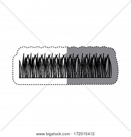sticker silhouette grass ornament icon design vector illustration