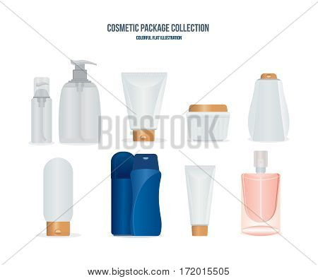Cosmetis package collection concept. Realistic set of liquid soap, tube of cream, dispenser perfume, womens and men gels and sprays, colognes and ointments. Colorful flat illustration.