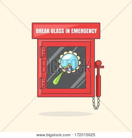Red emergency box with in case of emergency breakable glass. Box with beanbag