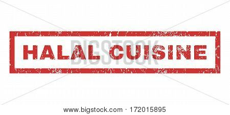 Halal Cuisine text rubber seal stamp watermark. Caption inside rectangular banner with grunge design and scratched texture. Horizontal vector red ink sticker on a white background.