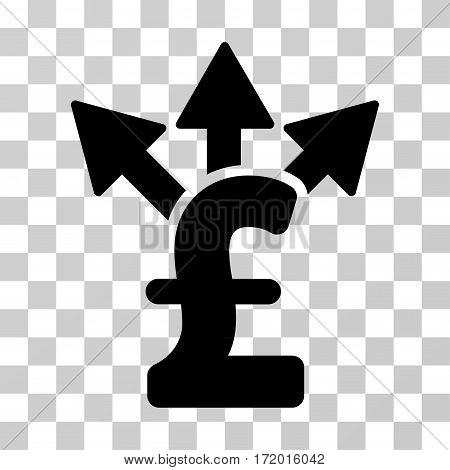 Split Pound Payment vector icon. Illustration style is a flat iconic black symbol on a transparent background.
