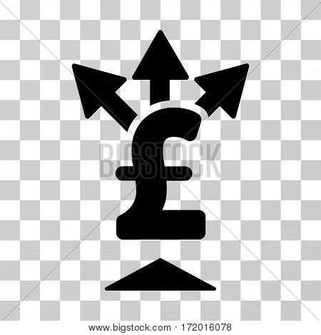 Split Pound Payment vector pictograph. Illustration style is a flat iconic black symbol on a transparent background.