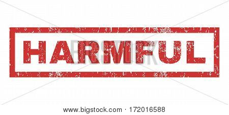 Harmful text rubber seal stamp watermark. Tag inside rectangular banner with grunge design and scratched texture. Horizontal vector red ink emblem on a white background.