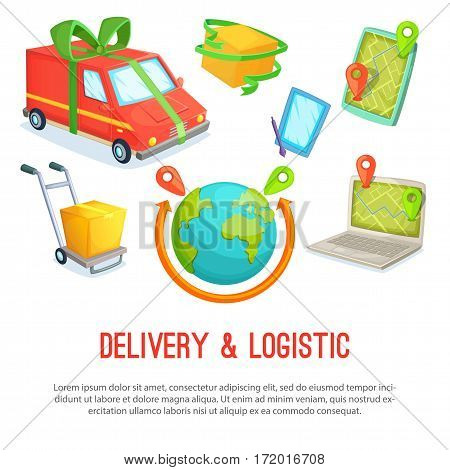 Delivery and ljgistic catoon designe objects. Vector illustration.