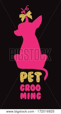 Logo for dog hair salon with vector dog silhouette. Pet grooming salon