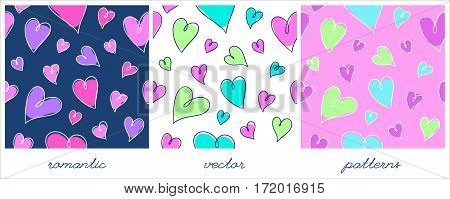 set of romantic seamless patterns with bright hand drawn hearts