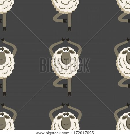 Stubborn Lamb in Yoga Tree Pose. Vector illustration of sheep seamless pattern.