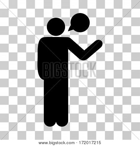 Talking Man vector pictograph. Illustration style is a flat iconic black symbol on a transparent background.