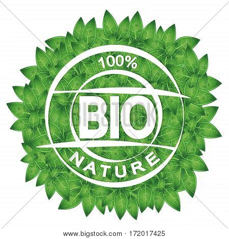 Symbol of bio and green leaves environmental protection design