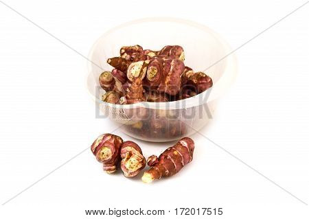 White background is sweet potato, Jerusalem, Jerusalem artichoke pictures