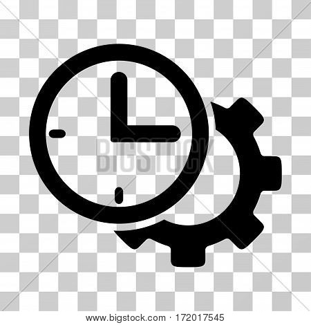Time Setup Gear vector pictograph. Illustration style is a flat iconic black symbol on a transparent background.