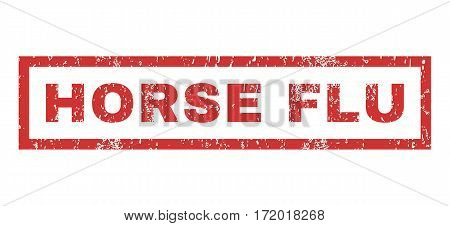 Horse Flu text rubber seal stamp watermark. Tag inside rectangular banner with grunge design and scratched texture. Horizontal vector red ink sign on a white background.