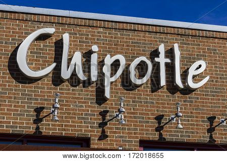 Indianapolis - Circa February 2017: Chipotle Mexican Grill Restaurant. Chipotle is a Chain of Burrito Fast-Food Restaurants XI