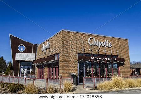 Indianapolis - Circa February 2017: Chipotle Mexican Grill Restaurant. Chipotle is a Chain of Burrito Fast-Food Restaurants IX