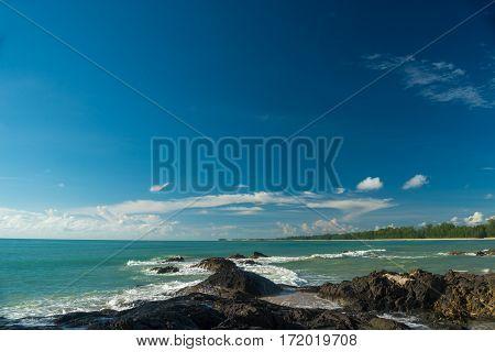 Beautiful Sky On The Rocky Beach Thailand.