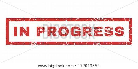 In Progress text rubber seal stamp watermark. Tag inside rectangular shape with grunge design and dust texture. Horizontal vector red ink sticker on a white background.