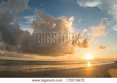 Sun cloud sky and sand beach Thailand