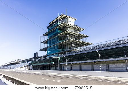 Indianapolis - Circa February 2017: The Panasonic Pagoda at Indianapolis Motor Speedway. IMS Prepares for the 101st Running of the Indy 500 X