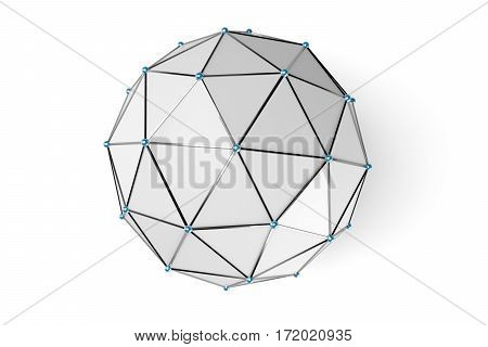 Abstract low poly sphere with connected dots isolated on white background. 3d rendering