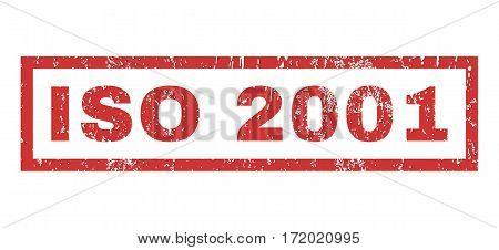 ISO 2001 text rubber seal stamp watermark. Tag inside rectangular shape with grunge design and dirty texture. Horizontal vector red ink sign on a white background.