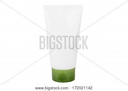 Blank cosmetic tube isolated on white background