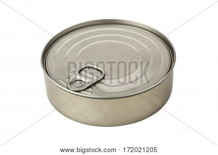 Closed tin can isolated on white background